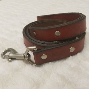 COACH red saddle leather dog leash and collar